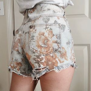 Free People • floral distressed jean shorts cutoff
